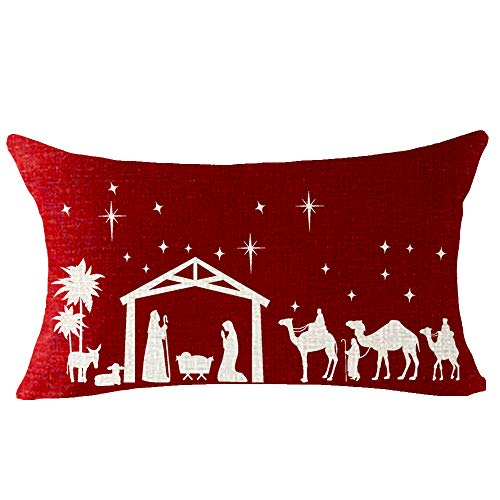 ITFRO Nice Jingle Bell Nativity Merry Christmas Cotton Burlap Decorative Rectangle Throw Lumbar Waist Pillow Case Cushion Cover for Couch Living Room 12X20 inches (Ruby)