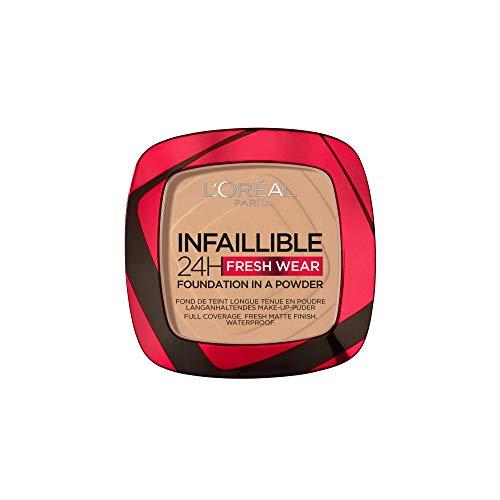L'Oréal Paris Polvos Compactos Mate Infalible 24H, Larga Duración, Cobertura Media-Alta, Resistente al Agua, Tono: 140 Golden Beige, 50 g