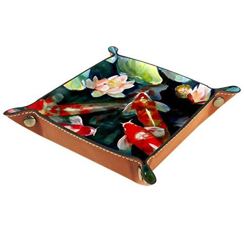 YATELI Caja de Almacenamiento pequeña, Bandeja de Valet para Hombre,pez koi japonés,Organizador de Cuero para Llaves de Caja de Monedas