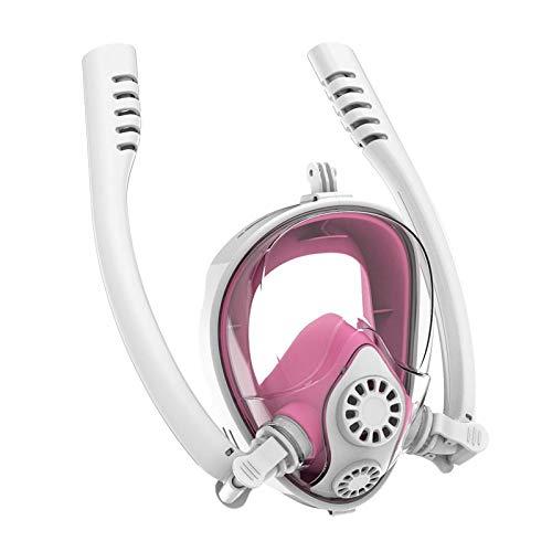 LKNJLL Máscara de buceo Mascarilla de snorkel Mascarilla anti-niebla completa Cara completa Máscara de snorkeling, máscara de snorkeling para adultos y niños, 180 grados Panorámico HD Seaview, Seco To