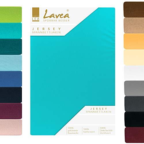 Lavea Jersey Spannbettlaken, Spannbetttuch, Premium Serie LEA, 140x200cm   160x200cm, Türkis, 100% gekämmte Baumwolle, hochwertige Verarbeitung, mit Gummizug und OekoTex100