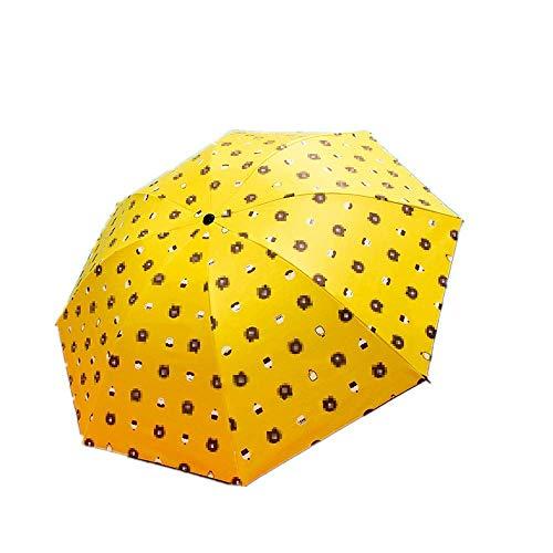 Paraguas Plegables sombrilla sombrilla Manual Triple Pliegue Lluvia y Sol protección Solar,Portátil (Color : Yellow)