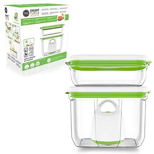 FOSA 2 x Recipientes para envasado al vacío + envasadora de vacío, Recipientes rectangulares para conservar alimentos, Incluida bomba para envasado al vacío, material libre de BPA