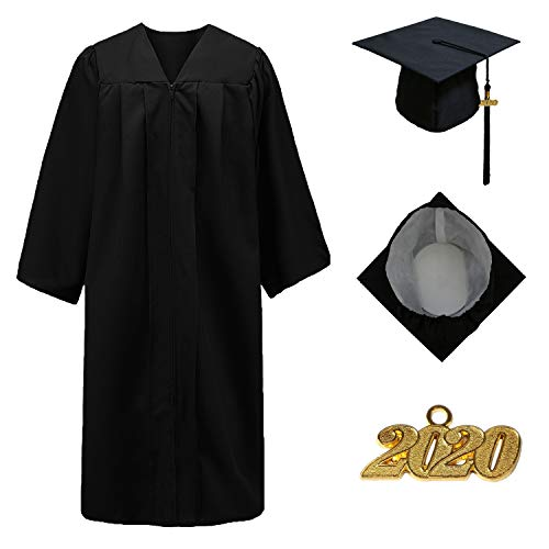 GraduationStudio Matte Unisex Graduation Gown Cap with Tassel 2018&2019, for High School and Bachelor Students, Black, 45''
