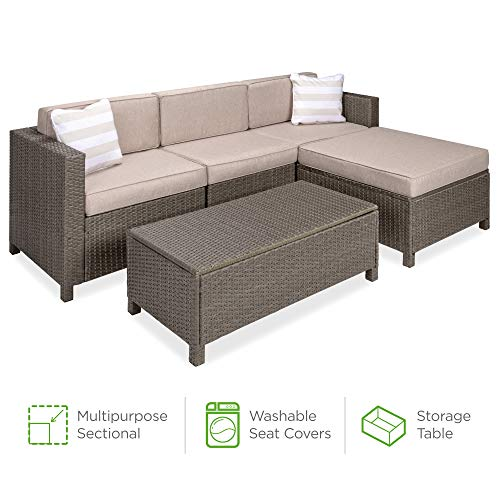 Best Choice Products 5-Piece Outdoor Wicker Patio Sectional Conversation Set w/Storage Table, 2 Pillows, Furniture Cover