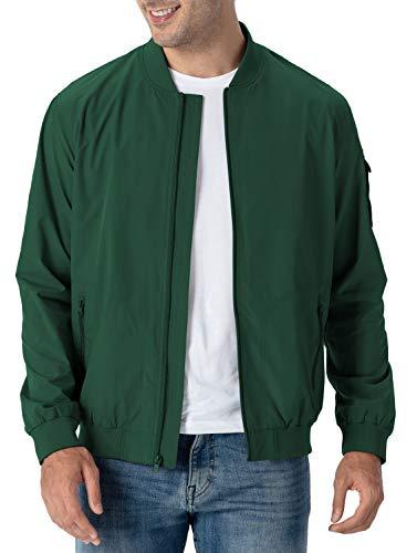 Rdruko Men's Track Jacket Casual Windbreaker Softshell Flight Bomber Golf Jacket(Green, US XL)