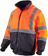 VENDACE Men's ANSI Class 3 High Vis Safety Reflective Bomber Jacket Hoodie Waterproof with Detachable Hood(Orange,L)