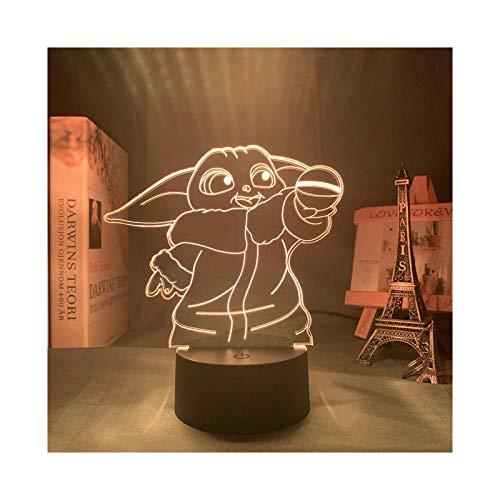 HOKVJ 3D Lampe Star Wars Baby Yoda Figur Nachtlicht Für Home Room Decor Kinder Kind Geburtstagsgeschenk Acryl RGB Led Nachtlicht Star Wars