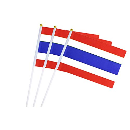 Thailand Flag Thai Hand Held Small Stick Mini Flags for Sport Parade Party Olympic Festival Decorations 1 Dozen (12 pack)