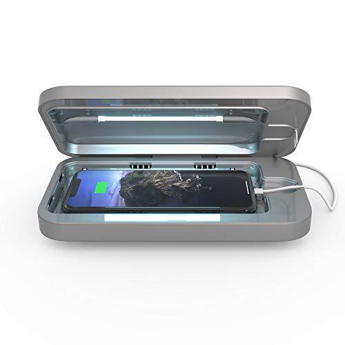 PhoneSoap 3 – UV mobiltelefon rengöringsmedel och dubbel universell mobiltelefon laddare | Patenterad och kliniskt testad UV-anitizer | Rengör och laddar alla telefoner – silver, silver 3.0
