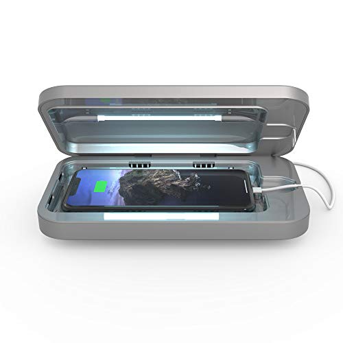 PhoneSoap 3 UV Smartphone Sanitizer & Universal Charger | Patented & Clinically Proven UV Light Disinfector | (Silver)