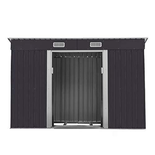 Outdoor Steel Garden Shed Garden Utility Tool Storage Backyard Lawn Building Garage Shed Sliding Door 4.2' x 9.1' Black