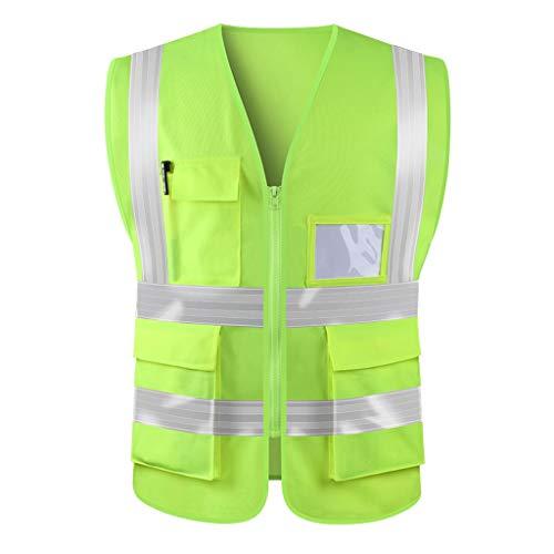 Jia He Arbeitskleidung Warnweste, Mikroprismen Warnweste Weste Sicherheitsbekleidung Reiterjacke Worker gelb fluoreszierend ## (Color : A)