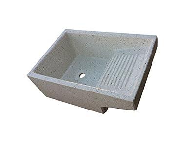 Pila con Lavadero de piedra para exterior o interior. (Blanco)