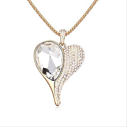 XIANGLIANDIAN Damenhalskette Langkettige Halskette Mit Kristallherzanhänger Für Frauentagsgeschenke Für Frauen Kristall