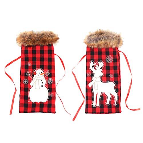 YARNOW 2 Stück Weihnachten Weinbeutel Kordelzug Schneemann Rentier Weinflasche Abdeckung Taschen Weihnachten Rotwein Flasche Taschen für Weihnachten Urlaub Lieferungen