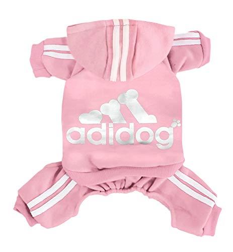 Abbigliamento per Cani Felpe con Cappuccio Maglione Caldo in Pile 4 Zampe Camicia in Cotone per Cani di Taglia Piccola Grande (Rosa, L)