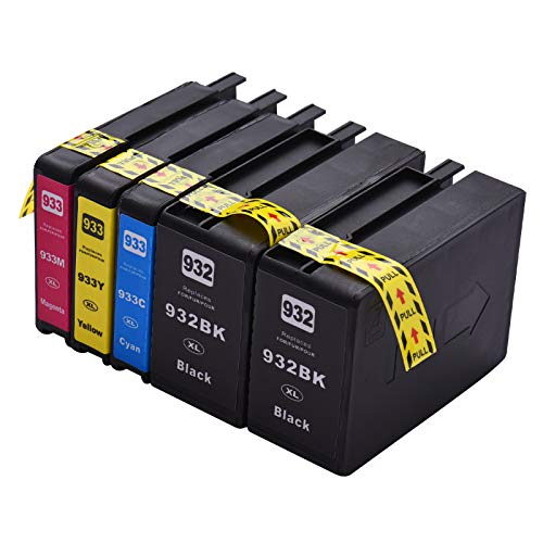 Aibecy Cartucho de tinta compatible de repuesto para impresora 932933 932XL 933XL de alto rendimiento Compatible con impresora HP Officejet 6100 6600 6700 7110 7612 7610 7510, paquete de 5
