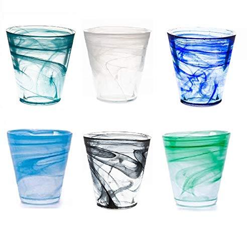 Pami Bicchieri Acqua, Bicchieri Vino, Bicchieri Colorati, Bicchieri Cocktail, Bicchieri Aperitivo, Bicchieri Vetro, Set 6 Bicchieri (Mix Multicolore) (1 Confezione)