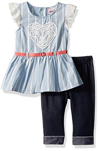 Little Lass Baby Girls' Little 2 Piece Fashion Capri Set, Chambray, 5