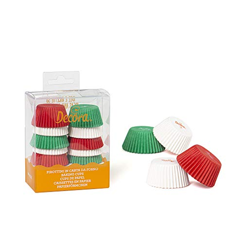 Decora 0339751 Paquet 200 CAISSETTES Mini Muffin Blanc/Rouge/Vert 32 X 22 MM, Paper, White/Red/Green, 30 x 3,2 x 2,2 cm