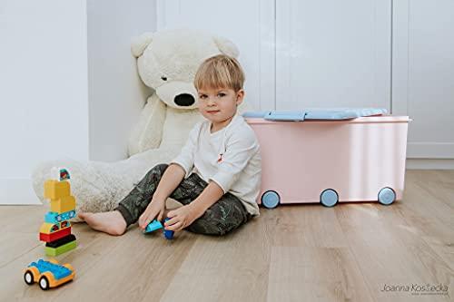LAPSI® Spielzeugkiste, Aufbewahrungsbox mit 6 Rollen mit Deckel auf Rädern Rosa Hase - 2