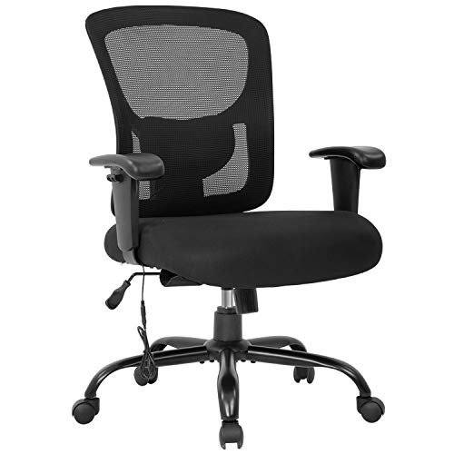 Big and Tall Office Chair 400lbs Wide Seat Mesh Desk Chair Massage Rolling Swivel Ergonomic Computer Chair with Lumbar Support Adjustable Arms Task Chair for Heavy People