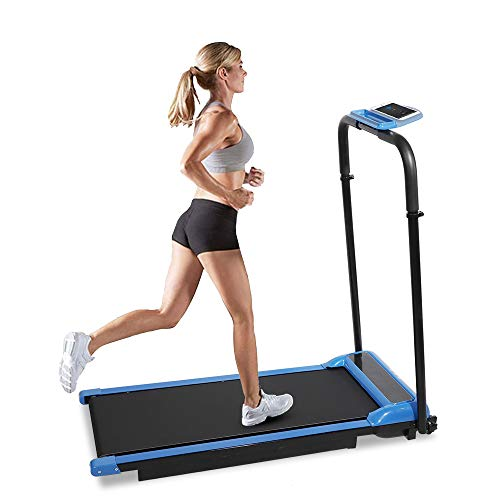 DKLGG Treadmill Running Machine Folding Electric Series Treadmills Ultra-Thin Exercise Running Machine Compact Fitness Treadpad Flat Running Treadmill & Walking LCD Display for Home,Office, Gym, Blue