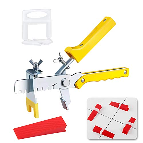"""Tile Leveling System, Premium 300 pcs 1/16"""" Tile Spacers Clips, 100 pcs Reusable Wedges and 1 pc Floor Tiles Pliers for Living Room Shower Floor/Wall Base Tile Leveler Tools for Installation"""