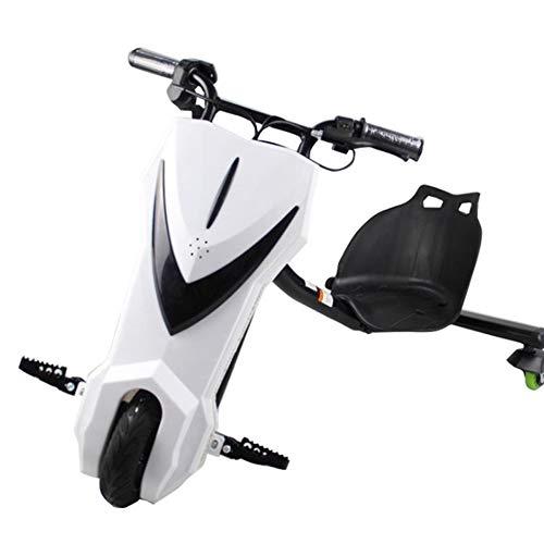 ZHENAI 360 Electric Drift Dreirad 36V Electric Go Kart Scooter 3-Rad Trike Aufsitzspielzeug für Kinder Kinder Jungen und Mädchen, Weiß