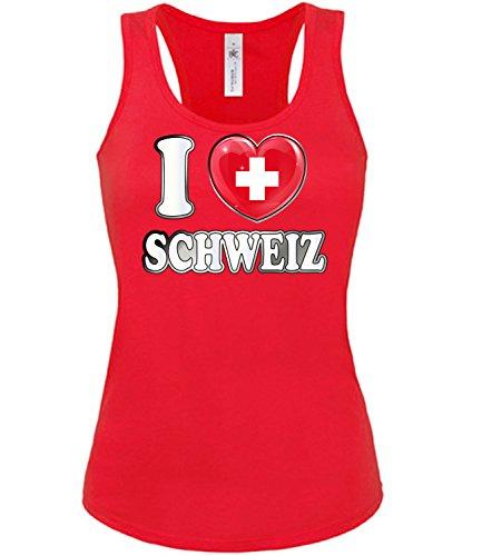 Schweiz Switzerland Fan t Shirt Artikel 5008 Fuss Ball Tank Top für Mädchen EM 2020 WM 2022 Trikot Look Flagge Fahne Team Frauen Damen World Cup M