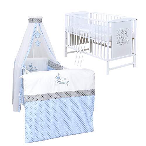 Baby Delux Babybett Komplett Set Kinderbett Mia weiß 120x60 Bettset mit Stickerei Matratze in vielen Designs (Prince Stars)