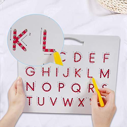 HELEVIA Magnetische Tekening Board, 2 in 1 Alfabet Letter Tracing Board, Educatieve Letters Lezen Schrijven Leren Kleuterschool Gift Hoofdletters + cijfers
