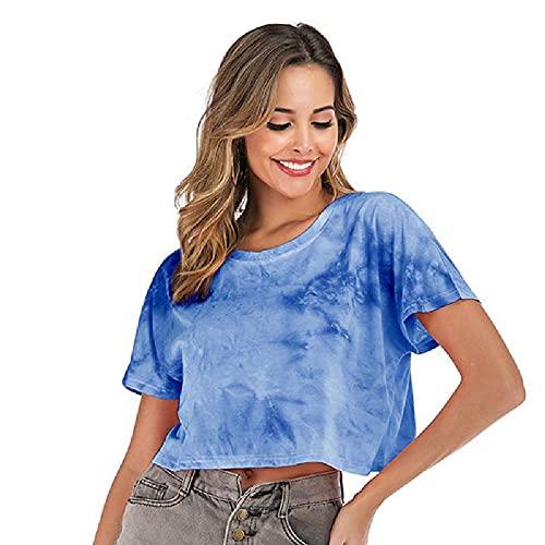 N\P Camiseta de manga corta con cuello redondo para mujer, para verano, holgada, casual, corta, estampada, de algodón