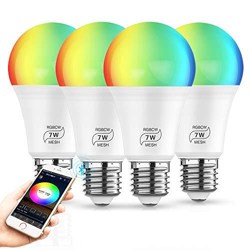 Bluetooth RGBW+CCT LED Lampe, dimmbare 7W E27 RGBW+CCT Sync mit Musik farbwechsel Glühbirne mit APP,100-264VAC,ersetzt 60W Glühbirne,16 Millionen Farben Leuchtmittel