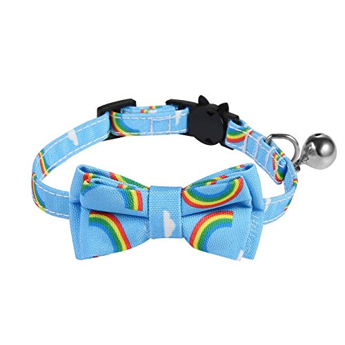SLSON Cat Collar Breakaway with Bell Kitten Collar with Cute Bowtie Rainbow Pattern Collar for Cats...