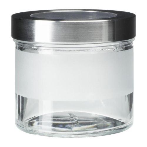 IKEA DROPPAR Dose mit Deckel; aus Frostglas; (0,4l)