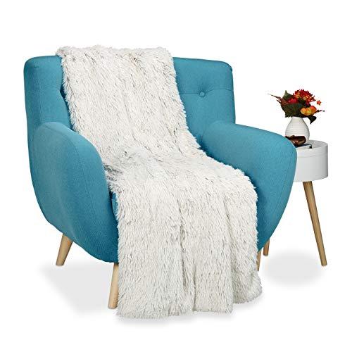 Relaxdays Felldecke Kunstfell, Kuscheldecke für Couch, Bett, flauschige XXL Tagesdecke, Größe 150x200 cm, weiß/braun