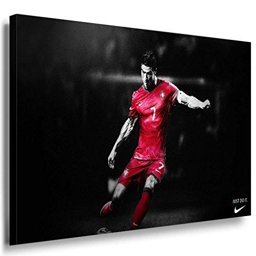 Cristiano Ronaldo Leinwandbild LaraArt Bilder Mehrfarbig Wandbild 40 x 30 cm