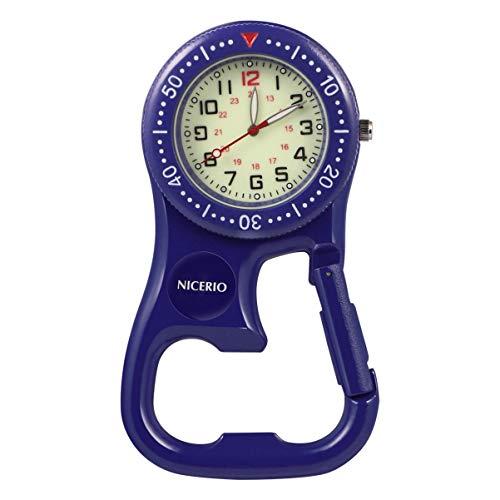 NICERIO Reloj con Clip, Reloj de Cuarzo con cinturón mosquetón Luminoso para mochileros, Excursionistas, escaladores, médicos, Enfermeras, Esfera Fluorescente, núcleo de la máquina Japonesa y