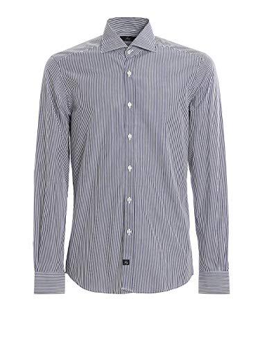 FAY wit en blauw gestreept katoen shirt Blu Uomo