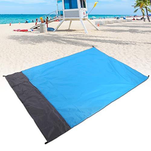 Oumefar con 4 estacas para el Suelo Colchón para Acampar Material de Doble Capa Manta de Playa Grande de poliéster 210T a Prueba de Arena para Picnic al Aire Libre