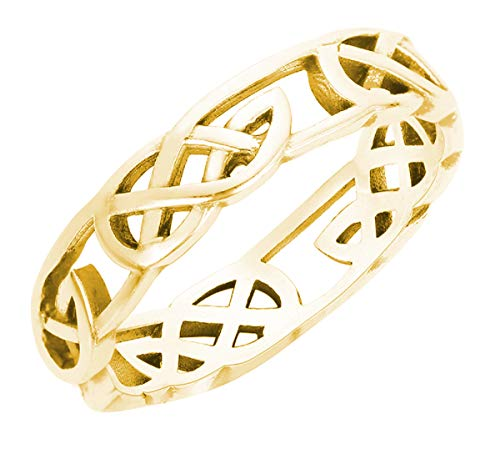 CloseoutWarehouse Yellow Gold-Tone Sterling Silver Celtic Wicca Pagan Ring Size 10