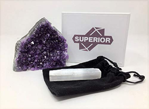 Superior Amethyst Cluster - 1 lb to 1.5 lbs - Uruguayan Amethyst Crystals. Includes a Bonus 3 inch Selenite Wand in a Velvet Bag