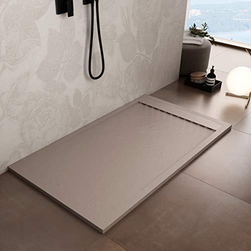Luminosa ArredoBagno Plato de ducha de resina de 100 x 80 cm – Efecto piedra antideslizante con Gelcoat – Modelo Luxury Arena – Rejilla de color liso y desagüe incluidos
