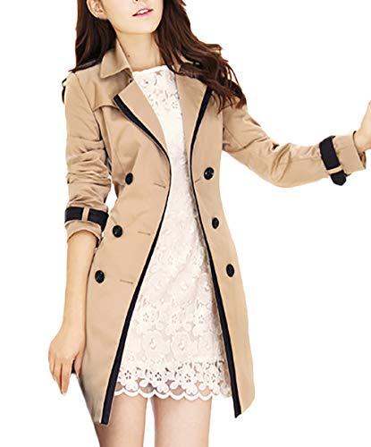 Gabardina Mujer Elegante Largos Vintage Fashion Doble Botonadura Primavera Abrigos Manga Larga Modernas Casual Otoño De Solapa Slim Fit Casual Windbreaker Outwear (Color : Khaki, Size : M)