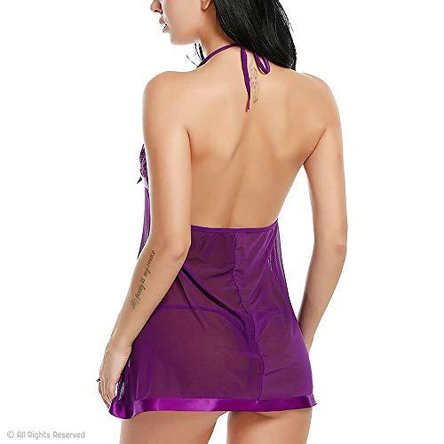 Billebon Women's Nightwear Babydoll Dress - Sexy Lingerie, Sleepwear for Women with G - String Panty, Babydoll Nighty for Special Date or Honeymoon Purple