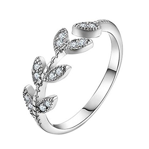 LeisialTM Ring mit Zirkonia-Stein in elegantem Design, personalisierbar mit Lasergravur, offener Ring