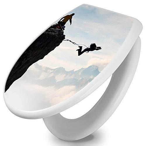 banjado Toilettendeckel mit Absenkautomatik | WC Sitz 44cm x 5cm x 37cm | Klodeckel weiß | Klobrille mit Edelstahl Scharnieren | Toilettensitz mit Motiv Seilsprung