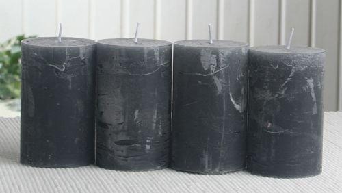 SET: 4x Rustik-Stumpenkerze, 8 x 5 cm Ø, anthrazit-schwarz
